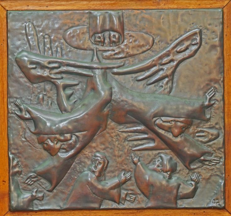 Jean Charlot. Episodes from the Life of Christ . 1967–1971. Copper repoussé. Thirty-two panels, each 19″ wide × 18″ high. Thurston Chapel, Punahou School, Honolulu,