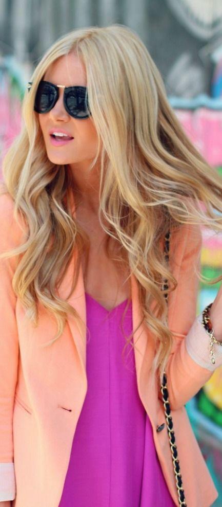 Pastel boyfriend blazer with vibrant pink... Great spring look