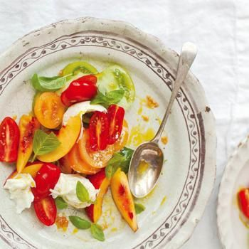 Nectarine, Tomato and Basil Salad With Torn Mozzarella From 'A Change of Appetite' Recipe