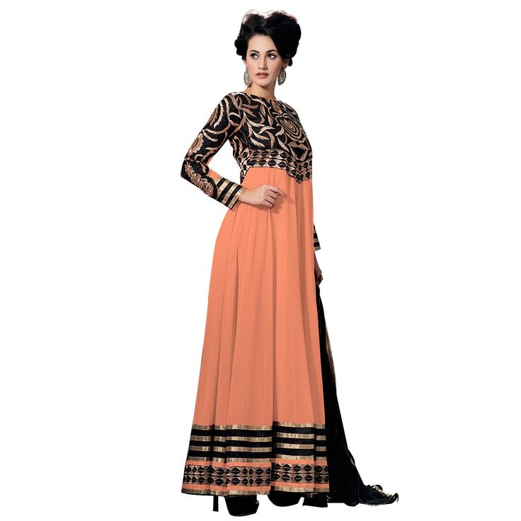 Georgette Machine Work Orange Semi Stitched Long Anarkali Suit - 7306