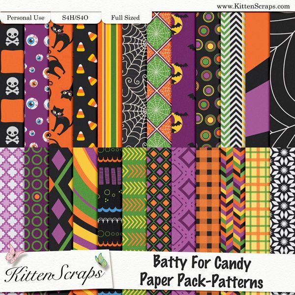 Batty 4 Candy Paper Pack Patterns KittenScraps, Digital Scrapbooking