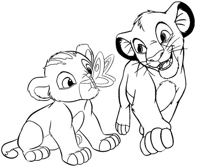 Baby Simba And Nala Coloring Page Of The Lion King Lion King Drawings Lion King Pictures King Coloring Book