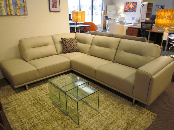 Light Grey Leather Sofa Sectional By Kuka. Was $2,399 Now $1,999