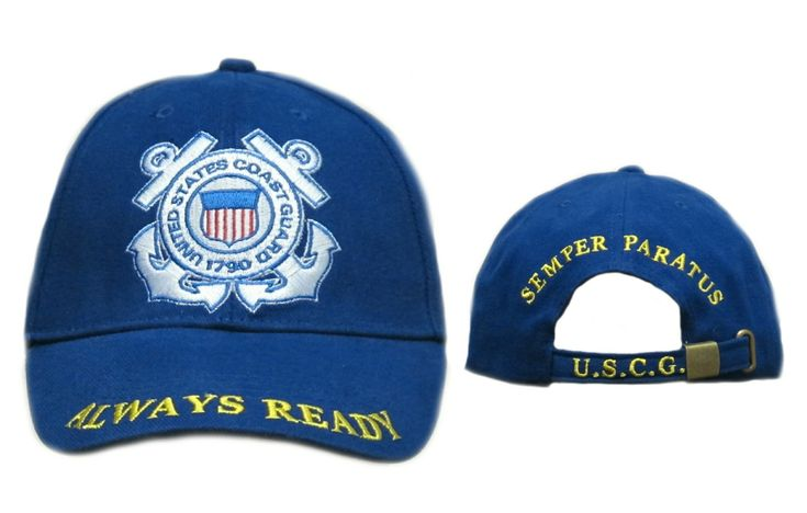 """U.S. Coast Guard Always Ready Cap-This U.S. Coast Guard """"Always Ready"""" Cap features a royal blue background and the crown of the cap features an embroidered U.S. Coast Guard insignia. The cap's curved bill is curved and embroidered with the """"Always Ready"""" slogan. The back of the cap features deluxe embroidery as well and includes a fully adjustable strap. Semper Paratus!"""