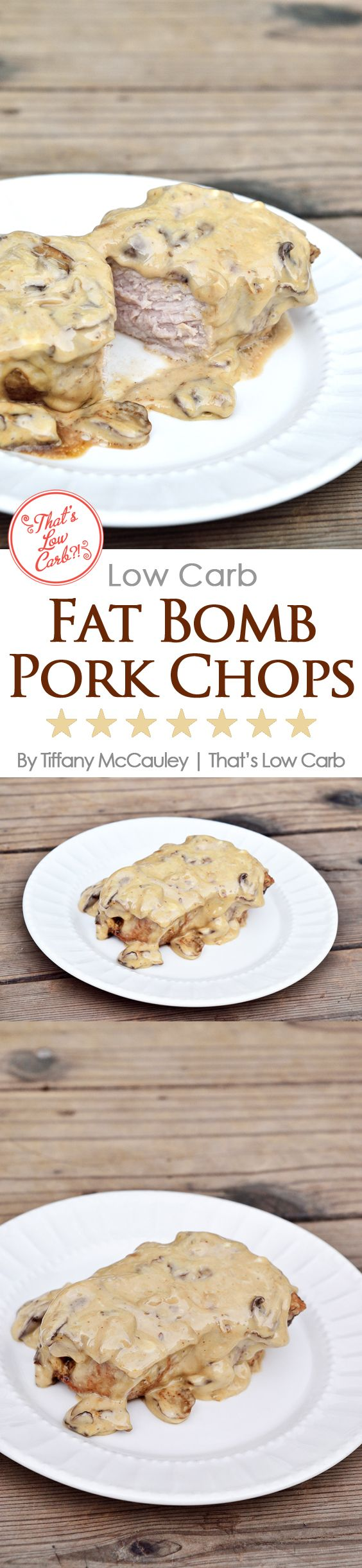 Low Carb Fat Bomb Pork Chops Recipe - Perfect for a Keto diet or just for generally getting plenty of fats in your low carb eating plan. ~ https://www.thatslowcarb.com