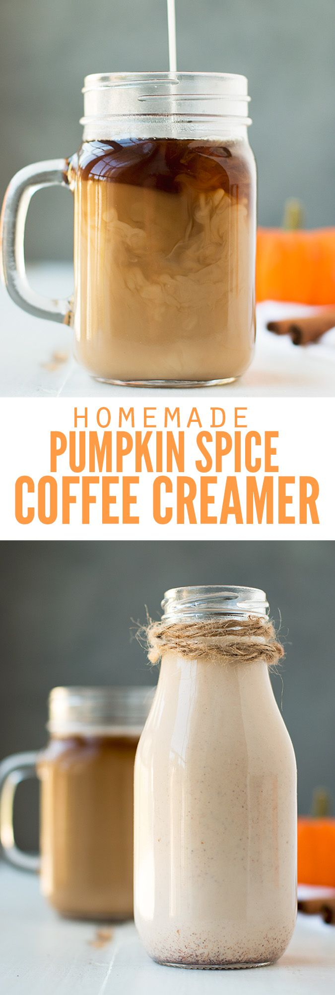 Homemade pumpkin spice coffee creamer that's actually healthy and made with real pumpkin and no refined sugar. So good, and much healthier than the powder! :: DontWastetheCrumbs.com
