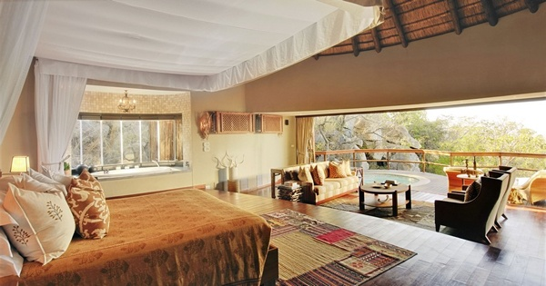 Luxurious safari lodge in the African wilderness