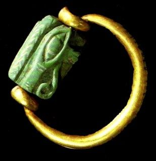 Two finger rings that were stuck on the golden finger sleeves , comes from the personal property of King Psusennes I (the third king of the Twenty-first dynasty of Egypt who ruled from Tanis between 1047 – 1001 BC.).