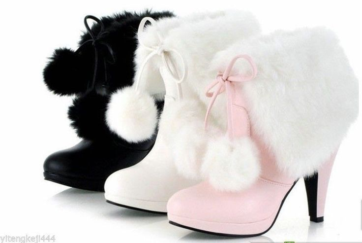 Women's Mid Calf High Heel Lace-up Fur PU Warm Winter Akle Boots Shoes Plus Size