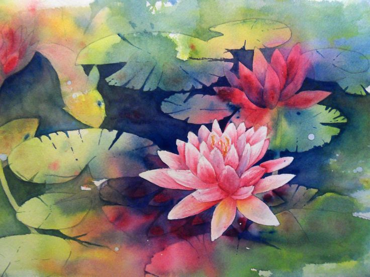 Water Lilies Watercolour by Sally Towers-Sybblis