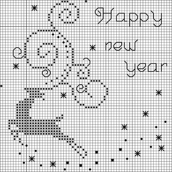 Cross-stitch Happy New Year... no color chart available, can either do one color as a Silhouette or choose your own colors... http://gallery.ru/watch?ph=bC2H-fNIX8