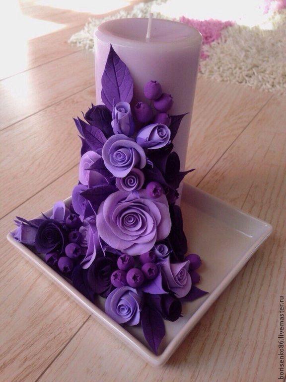 Купить Декоративная свеча - фиолетовый, цветы ручной работы, цветы из полимерной глины, Свечи, свеча