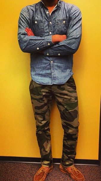"""Check out my feature in GQ Magazine's """"GQ Eye"""" style blog. Extremely honored and over the moon! Menswear camo + chambray style."""