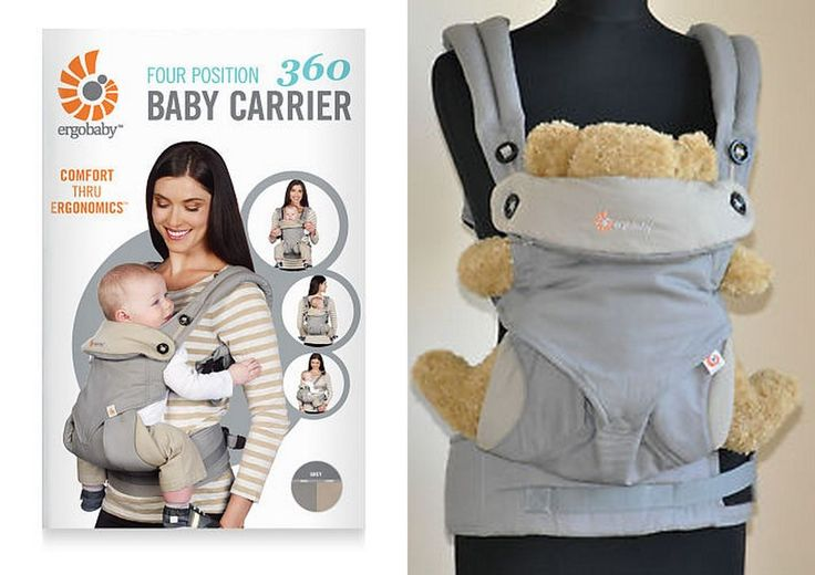 WORLDWIDE FREE SHIPPING  ERGOBABY Four Position 360 Baby Carrier Grey Ergo Baby