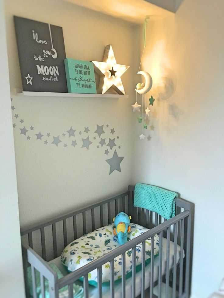 Teal and grey, star, elephant nursery theme with poddlepod.