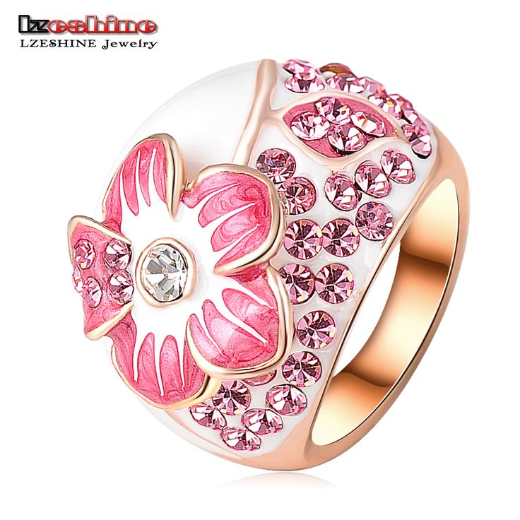 Lzeshine rosa emaille blume ringe mode rose gold farbe ring micro pave original-swa-elemente österreichischen kristall ri-hq0015-b