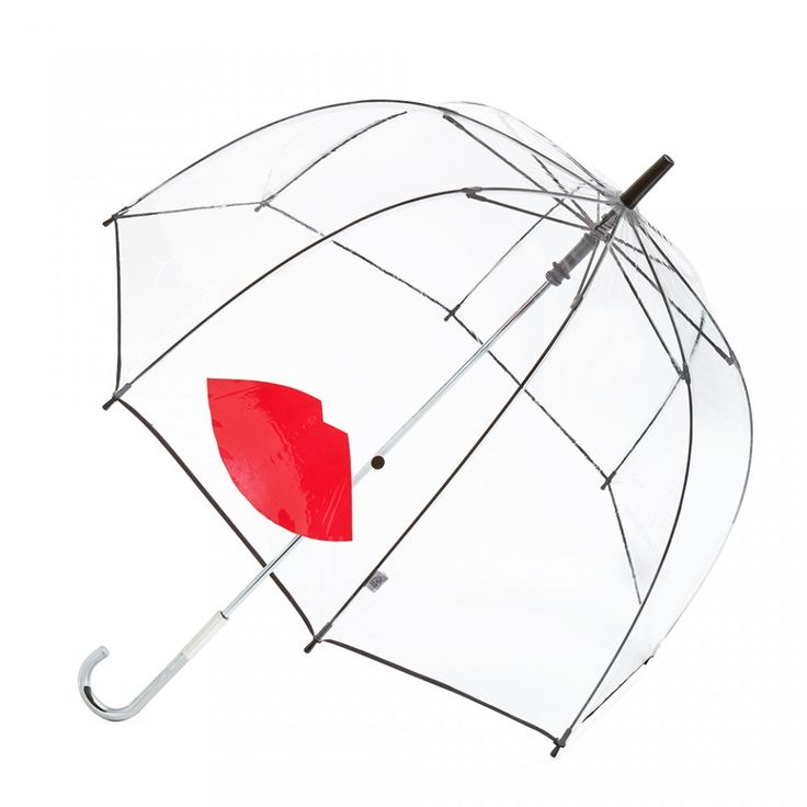 Birdcage Abstract Lips: What better way to get rid of those dark clouds than by carrying a beautiful Birdcage Umbrella? Inspiration was taken from Lulu's Birdcage collectable handbag. This season's transparent umbrella gets Lulu's kiss of approval with the red Abstract Lip. - Visit Lulu Guinness at http://www.luluguinness.com/