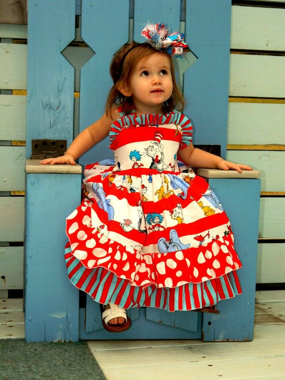 Ive become a huge dr. seuss fan!!!  Wanna be able to make things like this for Ava!!! Need to get to sewing!!!  Dr Seuss Ruffle Back Dress Available 612 M 1218 by rosieposiegifts, $69.00:
