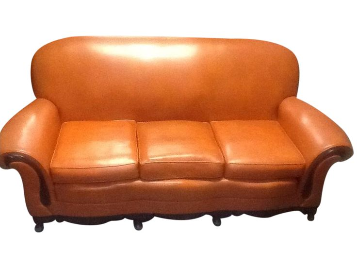 Vintage 1970s Orange Leather Sofa