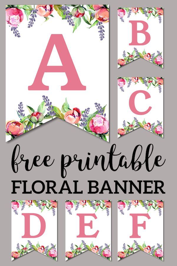 photograph regarding Free Printable Alphabet Banner named Floral No cost Printable Alphabet Letters Banner Birthday