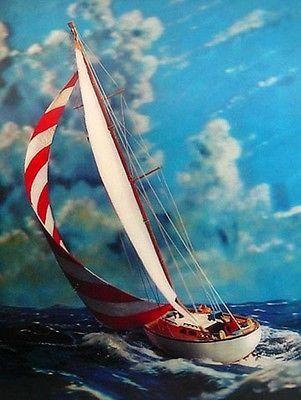 3D RACING YACHT SHIP Emdur VARI-VUE 3-D PICTURE Large 12 x 16 inches Mint Cond.