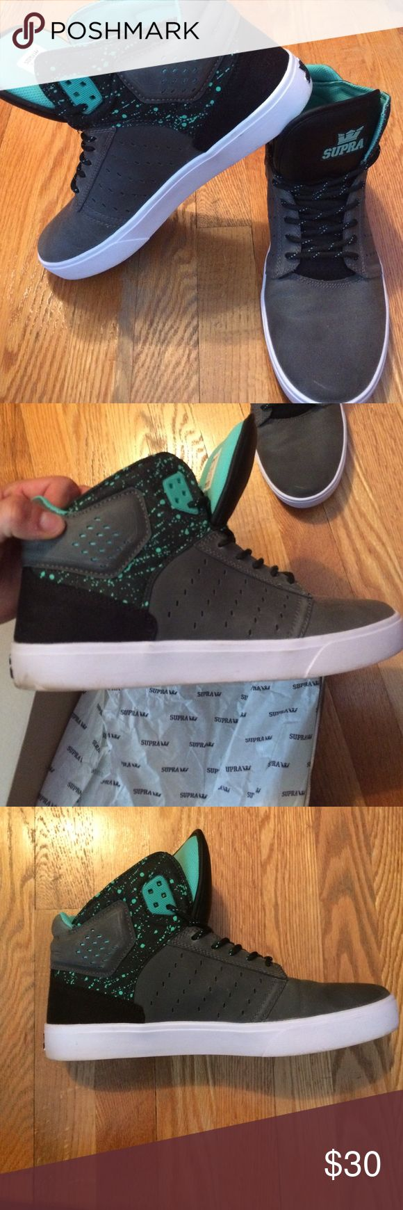 Men's Atom Supras Grey black-white with mint green accent. They have been worn once and have slight dirt marks on the bottom of the shoe (white part) but it can be cleaned. They are in great condition but do not fit anymore. Supra Shoes Sneakers