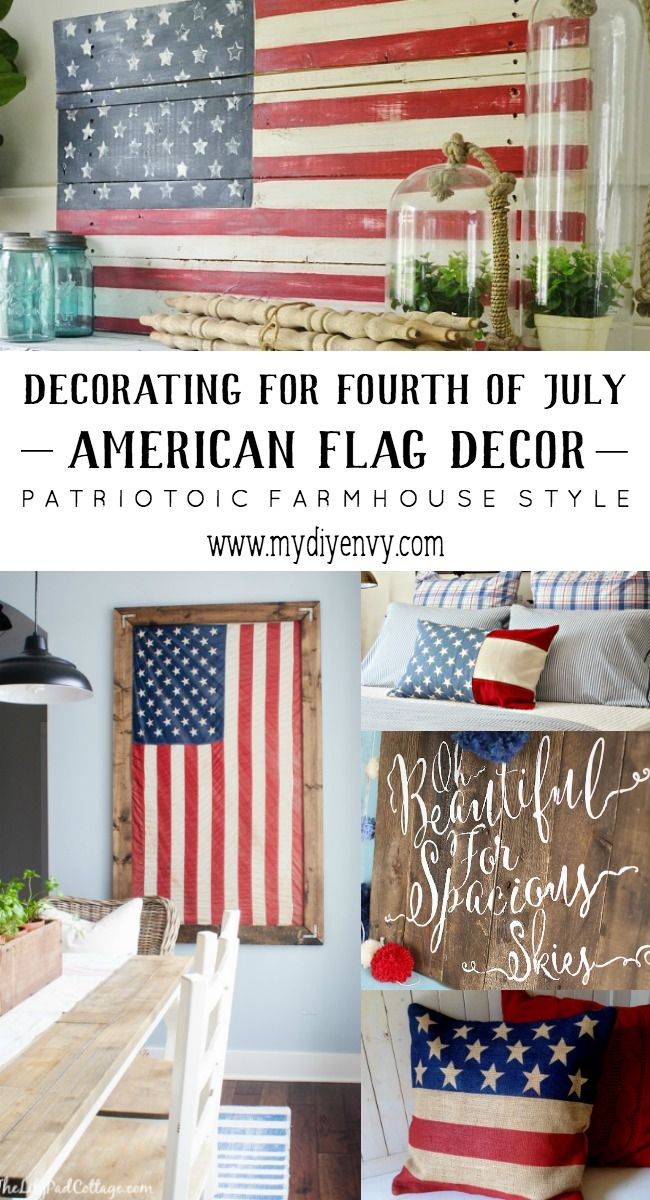 Here are a few patriotic decor ideas I would love to keep up year round. These farmhouse American flag decor ideas are great! | www.mydiyenvy.com