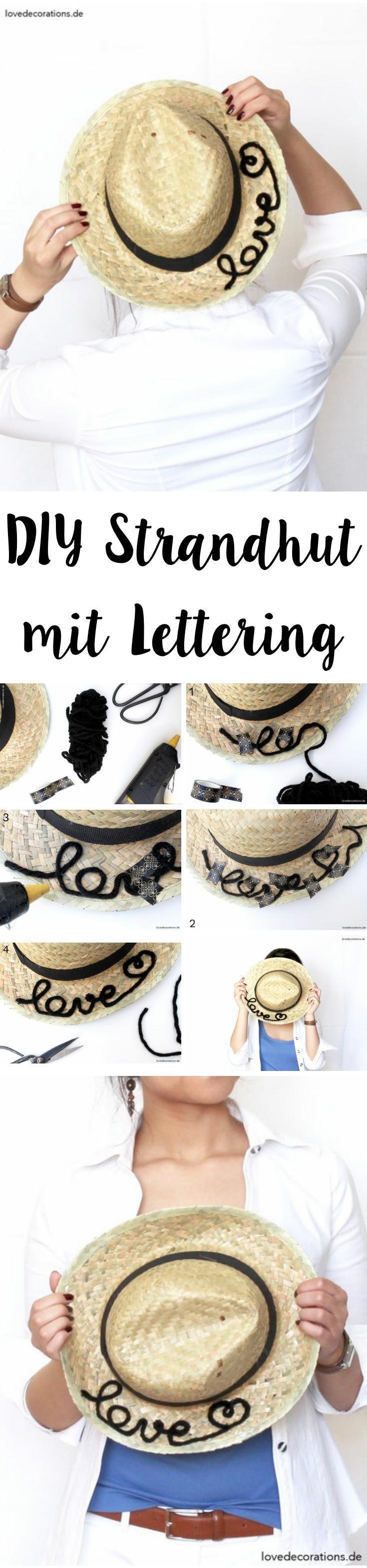 DIY Strandhut mit Lettering | DIY Sun Hat with Lettering
