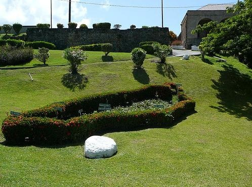 Fort King George, Tobago. The hedge is a symbolic map of Tobago
