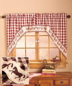 Horse Gingham Print Swag Country Western Curtain Set Kitchen Window Home Decor | eBay