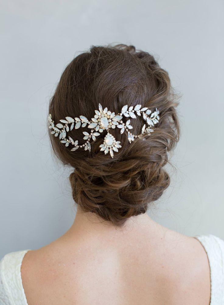 Opal crystal bridal headpiece from Twigs & Honey