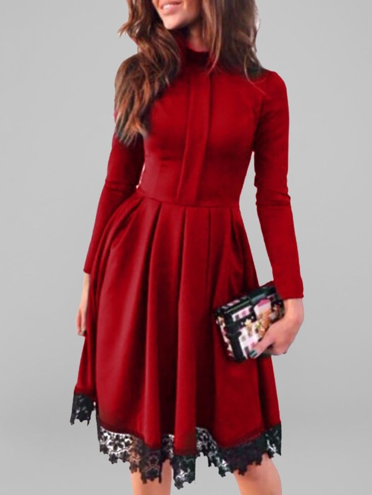 Fashion Long Sleeve A-line Pleated Lace Patchwork Casual Dress