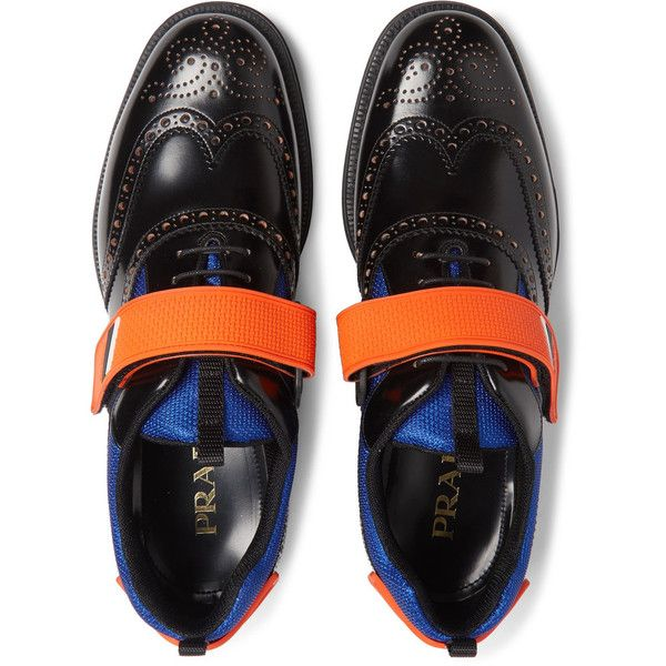 Prada Mesh and Rubber-Trimmed Leather Wingtip Brogues (36.580 RUB) ❤ liked on Polyvore featuring men's fashion, men's shoes, men's oxfords, mens wingtip shoes, mens velcro shoes, mens brogue shoes, mens mesh shoes and mens velcro strap shoes