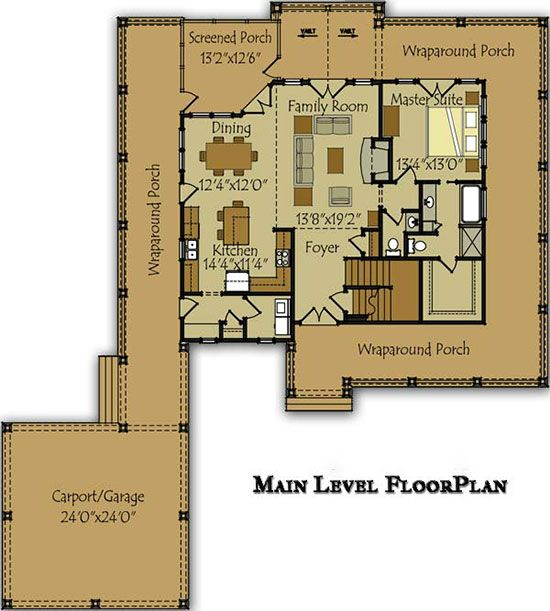 3 bedroom open floor plan with wraparound porch and for Waterfront house floor plans