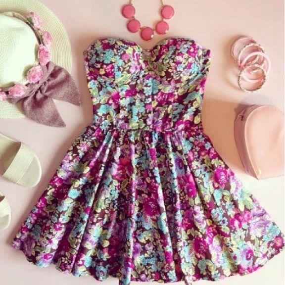 Strapless skater bustier floral print summer dress WE8406PO