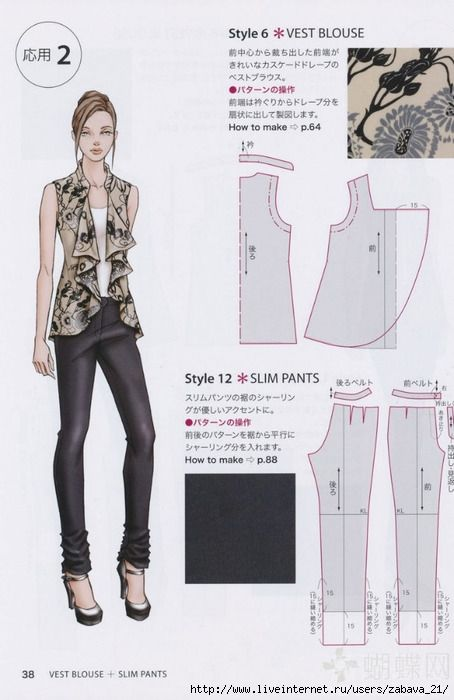 Free Pattern - Vest Blouse and Slim Pants - would be great sized for Barbie.