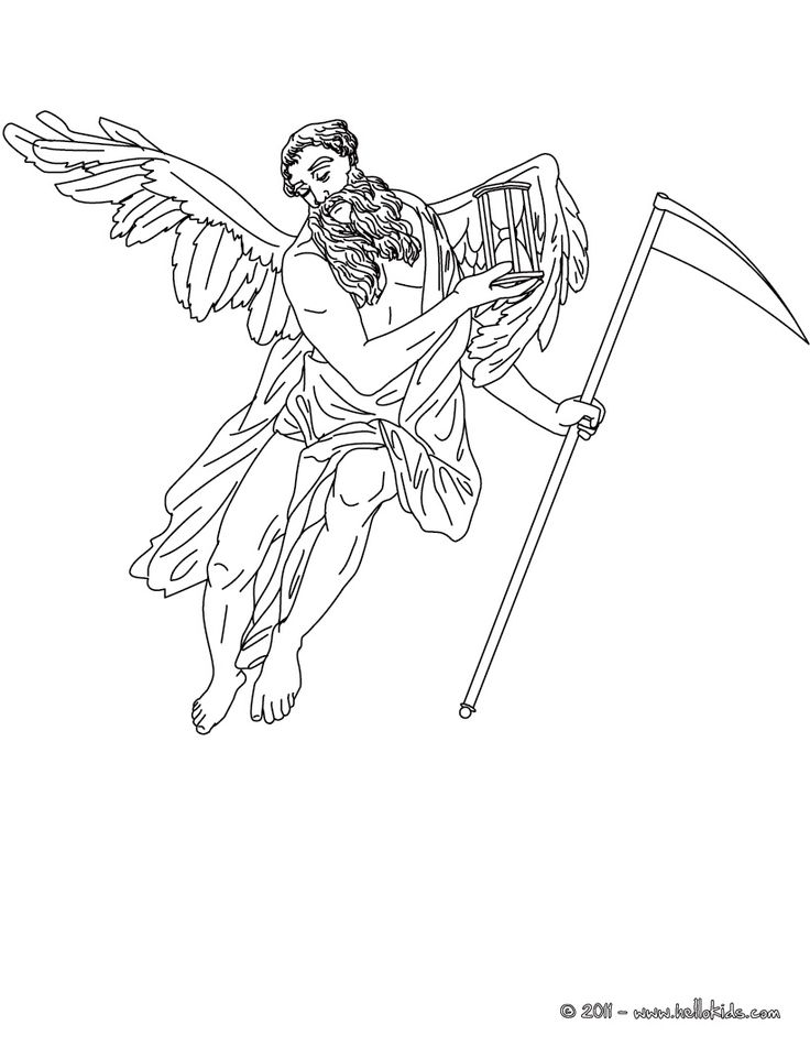 CHRONOS the greek titan god of time coloring page