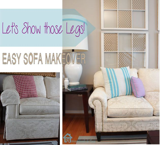 Easy Sofa Makeover and Living Room Mini-Makeover - Pretty Handy Girl - Just remove the sofa skirt :)