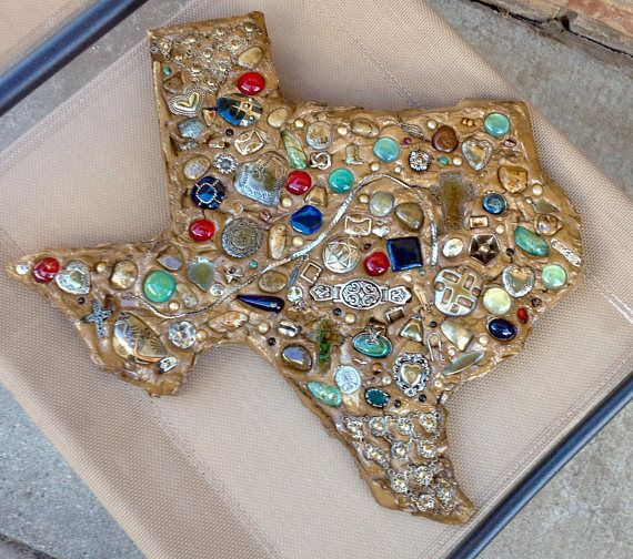 Handmade Mosaic Texas Wall Art / 16 / Upcycled Jewelry /