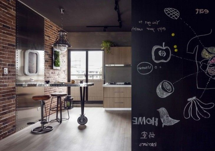 Urban Design Ideas For Chic Kitchen With Red Brick Walls Near Full Metal Breakfast Bar With Leather Stools Also Creative Black Board Walls - pictures, photos, images