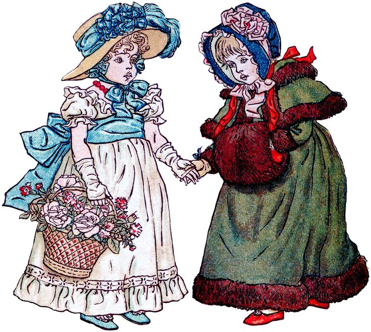 Friendship Image - Spring Girl Winter Girl - The Graphics Fairy
