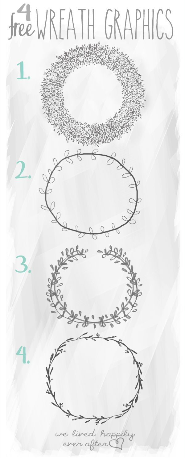 FREE GRAPHICS EVERY FRIDAY We Lived Happily Ever After: 4 Free Wreath Graphics