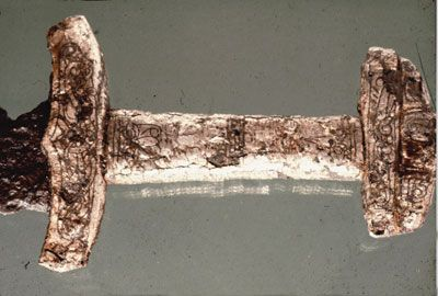 A silver plated Viking Age sword from Lieto, Finland.