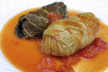 This recipe for Slovak stuffed cabbage, also known as holubky or halupki, is made with ground beef and pork, sauerkraut, paprika and tomato sauce.
