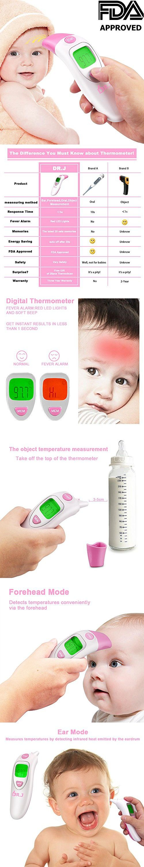 DR.J Dual Mode Ear and Forehead Thermometer, Digital Home Medical Thermometer for Kids, Adults with Fever Alarm Function, High Accuracy, FDA Approved