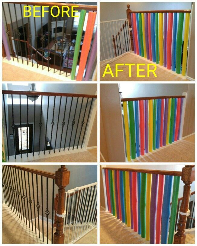 I Like The Pool Noodle Idea Its Simple But I Think Its A Nice Starting Point For A Bit More Sturdy Solution Diy Baby Gate Diy Baby Stuff Baby Proofing