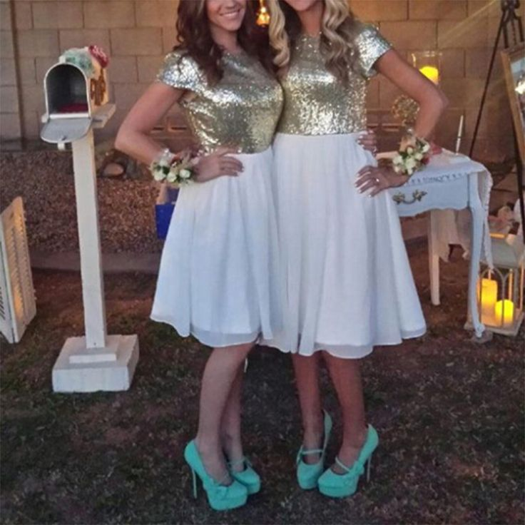 Find a Shinning Short Gold White Bridesmaid Dresses With Sleeves Chiffon Sequin Bridesmaid Dress Empire Sparkly Bridesmaid Gowns Online Shop For U !