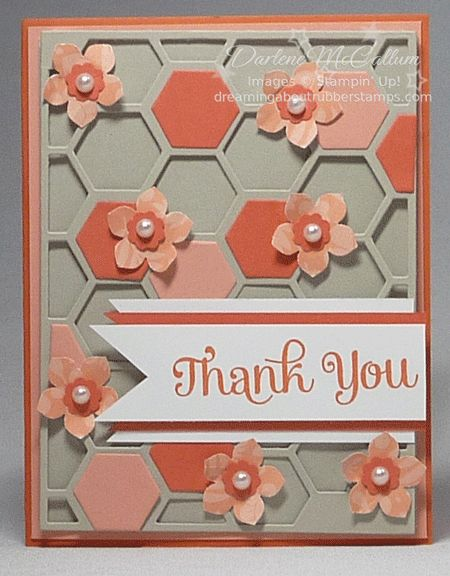 Coral and Tangerine Hexagon Hive by darhm - Cards and Paper Crafts at Splitcoaststampers