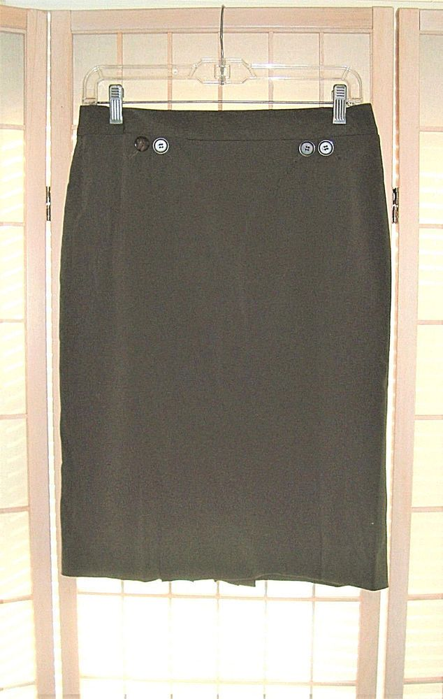 Madison Studio Sz 4 Dark Kelly Green Lined Pencil Skirt W/ Back Pleats #MadisonStudio #Pencil