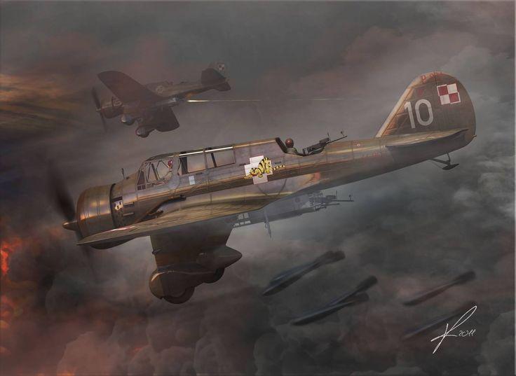 PZL.23 Karaś – polski lekki bombowiec i samolot rozpoznawczy. 55 Samodzielna Eskadra Bombowa, Brygada Bombowa, wrzesień 1939 r. Rys. Marek Ryś. https://www.facebook.com/wojskopolskie19391945/photos/a.376644045867274.1073741828.376641135867565/379898112208534/?type=1